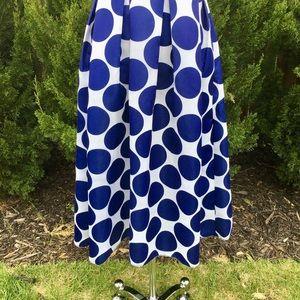 PERSUN Blue and White Polka Dot Full Skirt